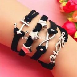 Черный кожаный браслет Love