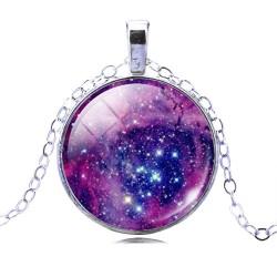 Кулон фиолетовый космос 3,7 см на цепочке