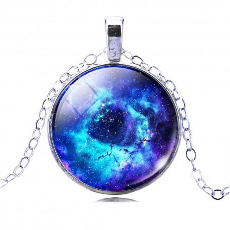Кулон голубая галактика на цепочке