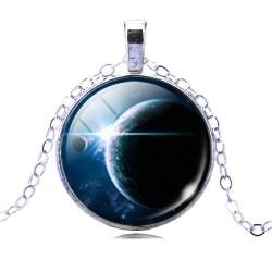 Кулон голубой космос 3,7 см на цепочке