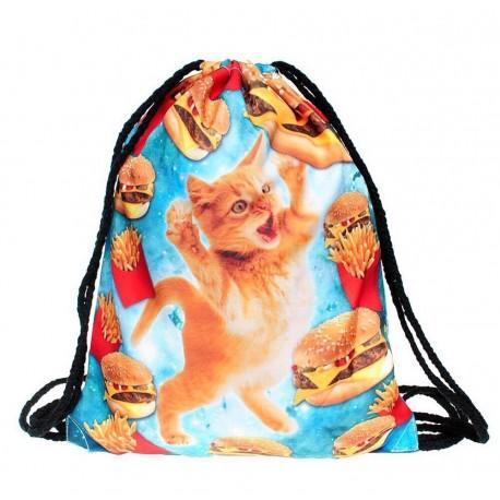 Рюкзак-мешок котенок в космосе с гамбургерами и картошкой фри