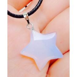 Лунный камень Звезда на черном шнуре