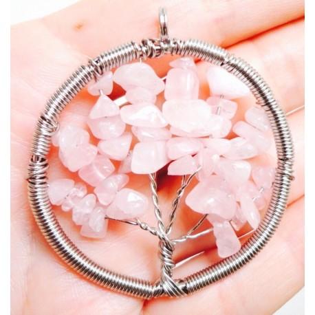 Розовый кварц - кулон дерево
