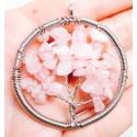 Розовый кварц - 5 см кулон дерево