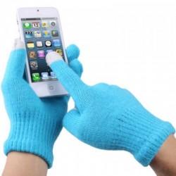 Перчатки для телефона голубые