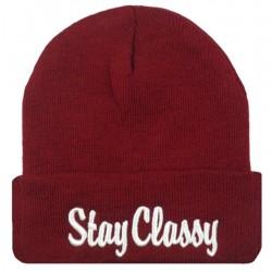 Шапка с надписью Stay Classy красная