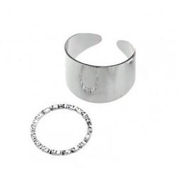 Комплект колец 2 шт серебристый металлик