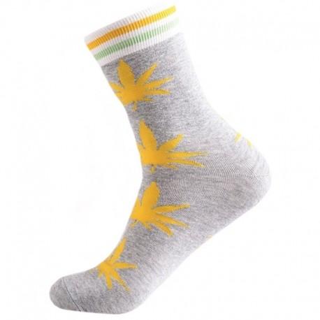 Серые носки с коноплей с полосками