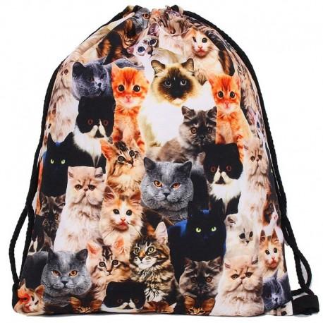 Мешок для обуви с котиками