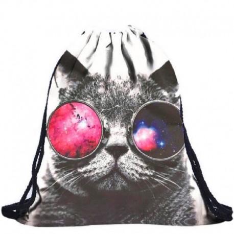 Мешок-рюкзак для обуви Кот в очках