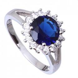 Кольцо с синим топазом 8 мм и цирконами