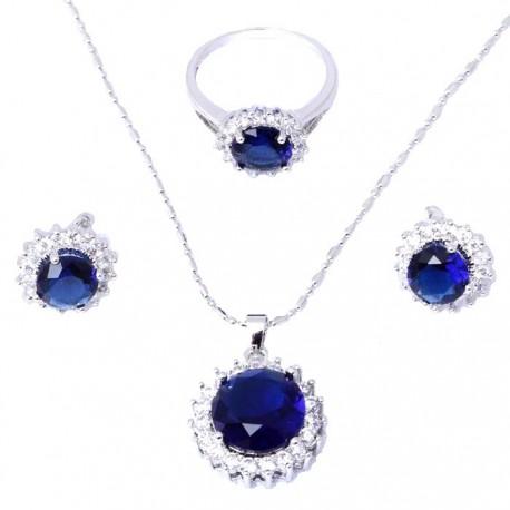 Гарнитур с синими топазами и цирконами