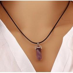 Аметист - кулон 4 см фиолетовый кристалл на шнуре