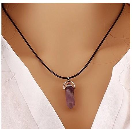 Аметист - кулон фиолетовый кристалл на шнуре