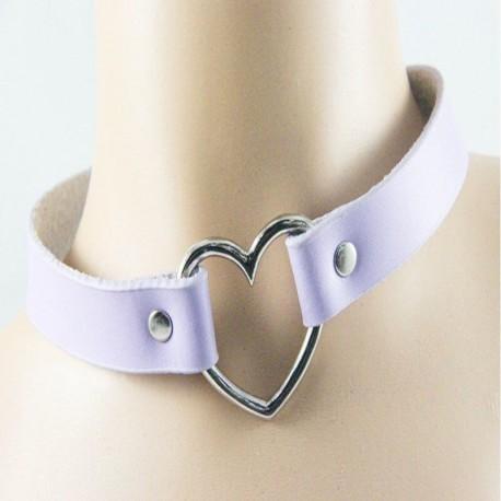 Чокер кожаный с сердцем фиолетовый