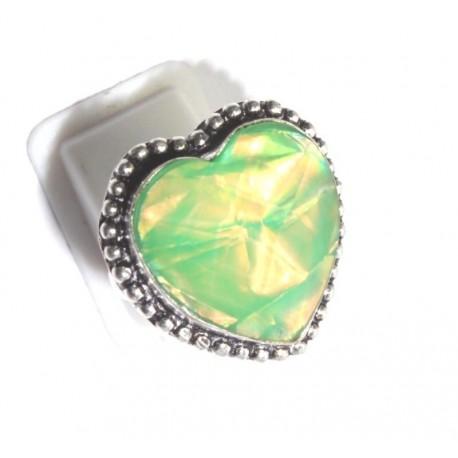 Кольцо Сердце - имитация опала, покрытие серебром - Индия