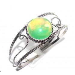 Индийский браслет - имитация опала, покрытие серебром