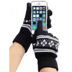 Перчатки для телефона с узором черные