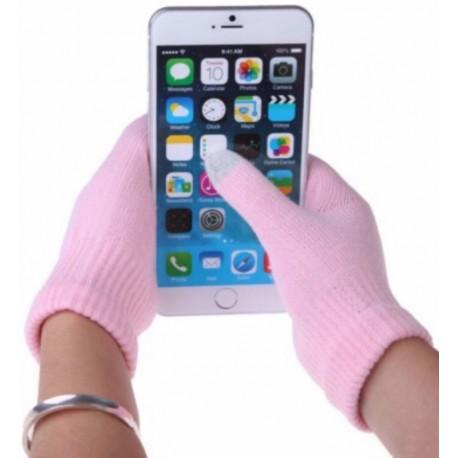 Перчатки для телефона розовые