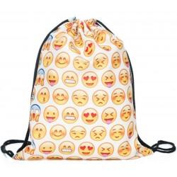 Рюкзак-мешок со смайлами белый