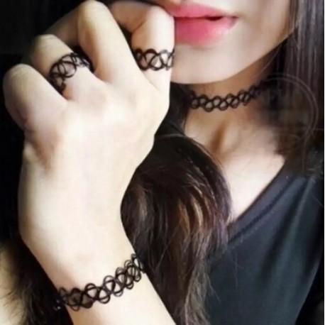 Набор чокеров 3 шт: шея, браслет, кольцо
