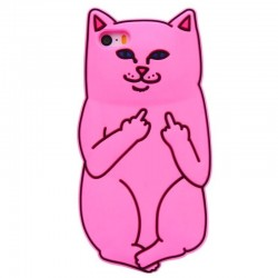 Чехол Кот с факом для iPhone розовый