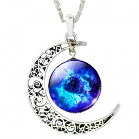 Кулон голубая галактика с луной на цепочке
