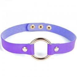 Чокер кожаный с кольцом фиолетовый
