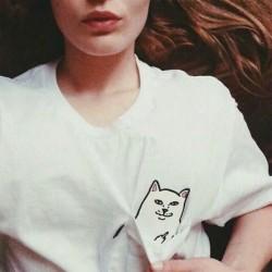 Кот с факью футболка