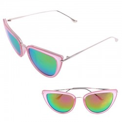 Зеркальные очки розовые