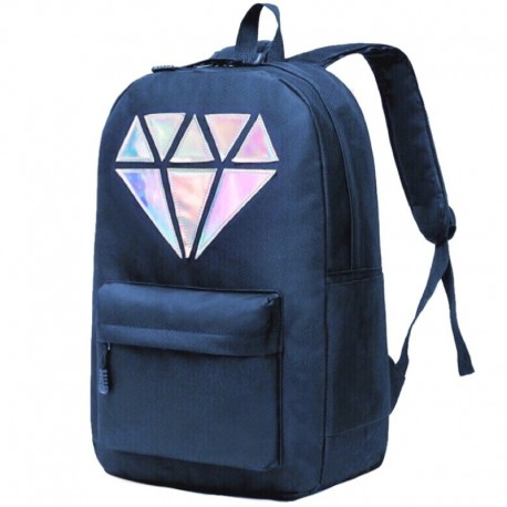 Синий рюкзак с голографическим бриллиантом