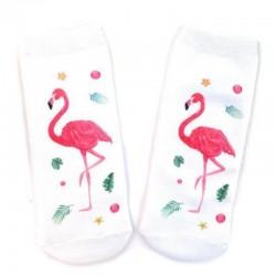 Белые носки с фламинго