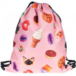 Мешок для обуви с котами, пончиками и мороженым