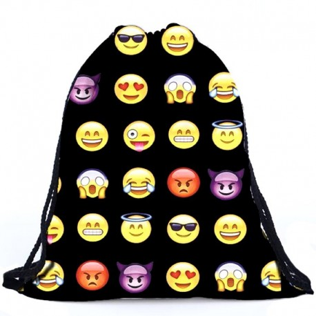 Мешок-рюкзак черный со смайлами эмоджи