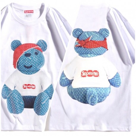 Белая футболка Supreme x Louis Vuitton Teddy Bear