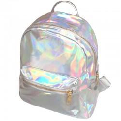 Серебристый переливающийся рюкзак голографический
