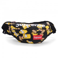 Черная поясная сумка Supreme с Симпсонами