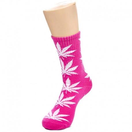 Розовые носки с коноплей