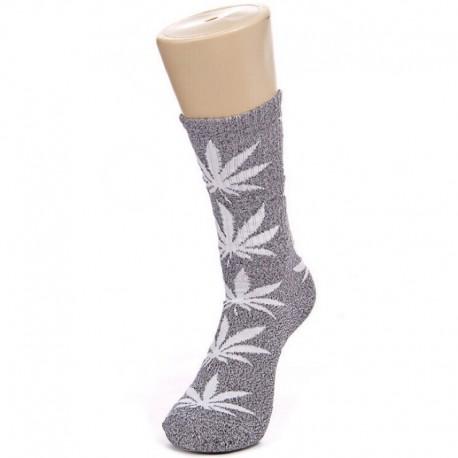 Серые носки с белой коноплей