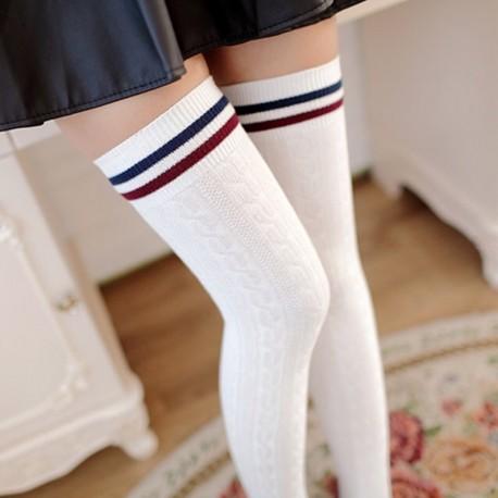 Гольфы выше колена белые с полосками