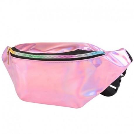 Розовая голографическая сумка на пояс