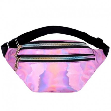 Розовая голографическая поясная сумка