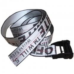 Ремень Off-White серебристый с черной пряжкой