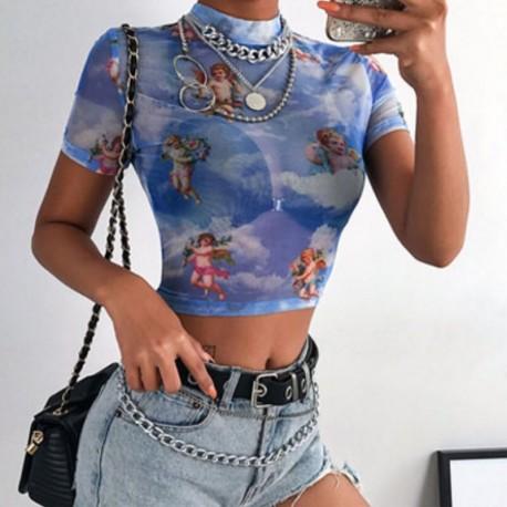 Голубая прозрачная футболка с ангелами