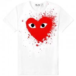 Белая футболка Comme des Garcons Drops Red