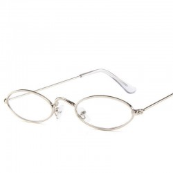 Серебристые овальные очки