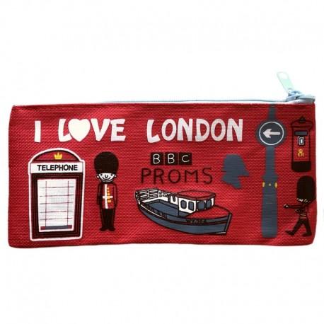 Красный пенал с надписью I Love London