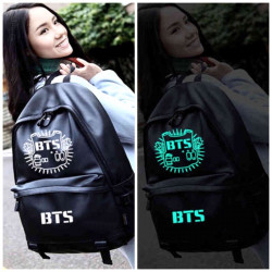 Черный кожаный рюкзак BTS светящийся