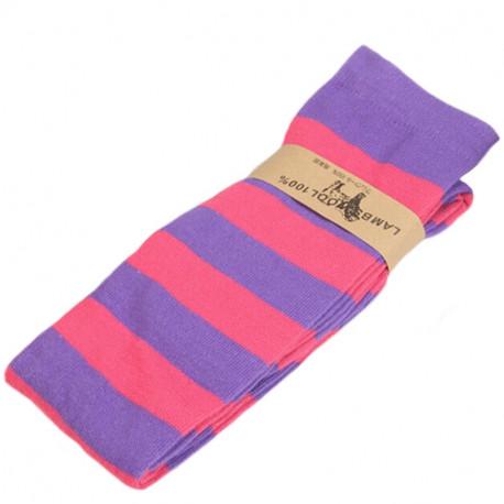 Полосатые гольфы выше колена фиолетово-розовые