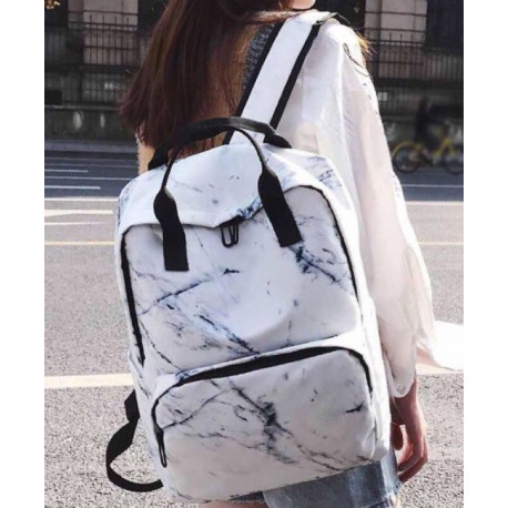 Школьный мраморный рюкзак белый
